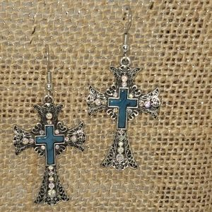 gorgeous bling cross with turquoise earrings